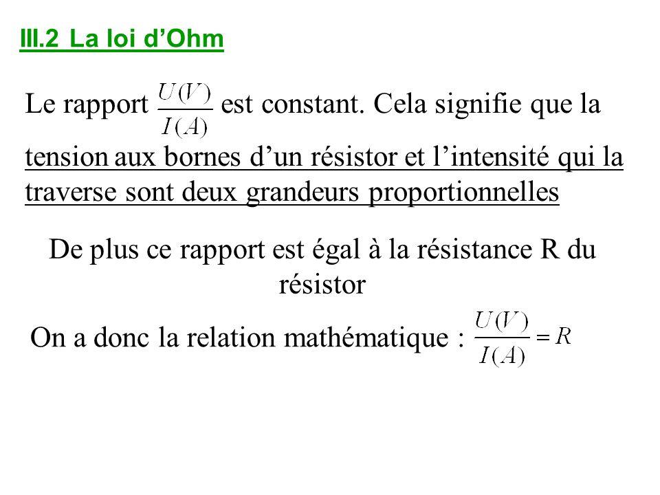 III.2 La loi dOhm Le rapport est constant. Cela signifie que la tension aux bornes dun résistor et lintensité qui la traverse sont deux grandeurs prop