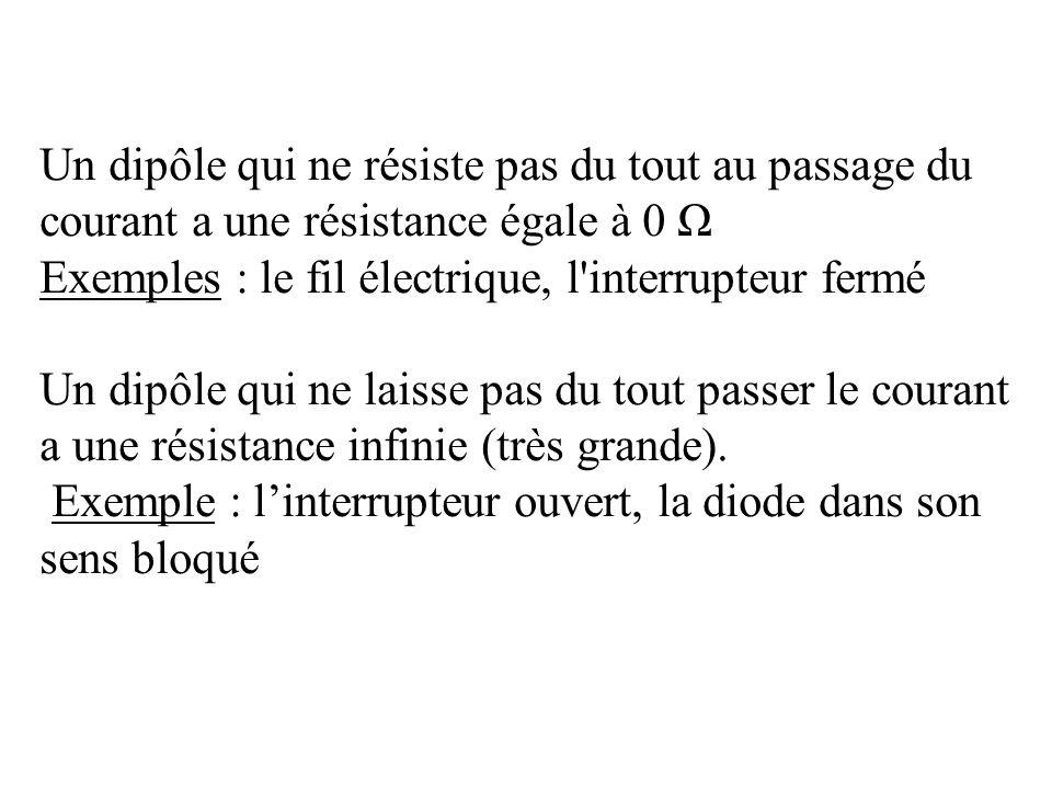 Un dipôle qui ne résiste pas du tout au passage du courant a une résistance égale à 0 Ω Exemples : le fil électrique, l'interrupteur fermé Un dipôle q