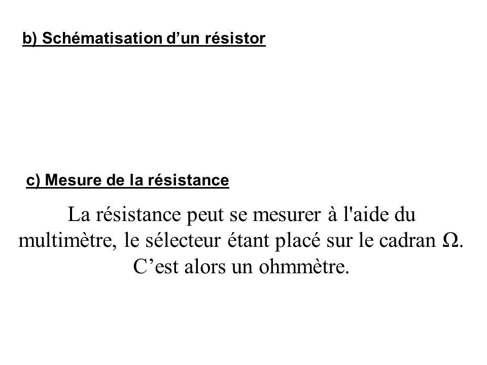 b) Schématisation dun résistor c) Mesure de la résistance La résistance peut se mesurer à l'aide du multimètre, le sélecteur étant placé sur le cadran