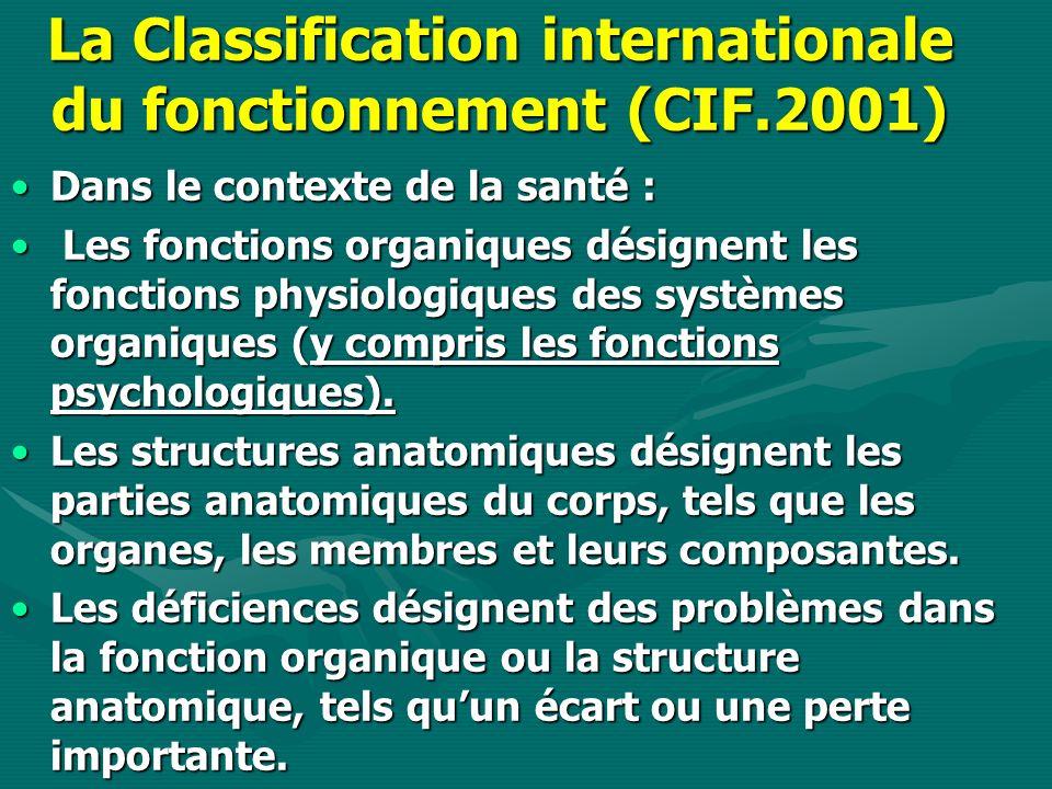 La Classification internationale du fonctionnement (CIF.2001) Dans le contexte de la santé :Dans le contexte de la santé : Les fonctions organiques désignent les fonctions physiologiques des systèmes organiques (y compris les fonctions psychologiques).