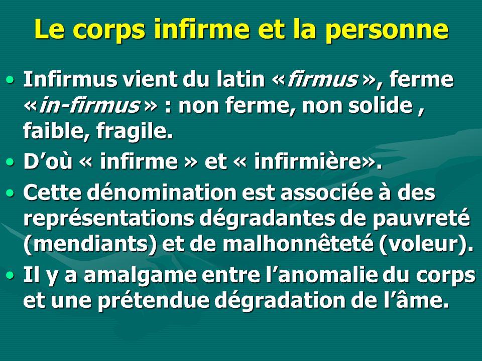 Le corps infirme et la personne Infirmus vient du latin «firmus », ferme «in-firmus » : non ferme, non solide, faible, fragile.Infirmus vient du latin «firmus », ferme «in-firmus » : non ferme, non solide, faible, fragile.