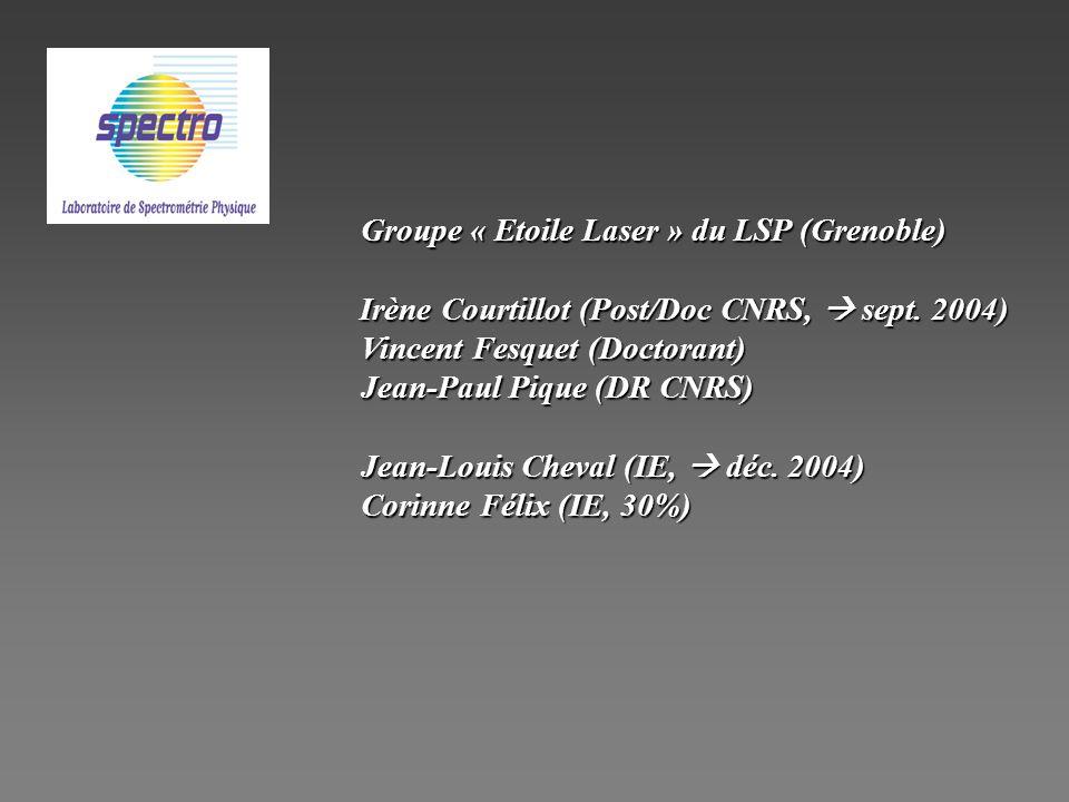 Groupe « Etoile Laser » du LSP (Grenoble) Irène Courtillot (Post/Doc CNRS, sept. 2004) Irène Courtillot (Post/Doc CNRS, sept. 2004) Vincent Fesquet (D