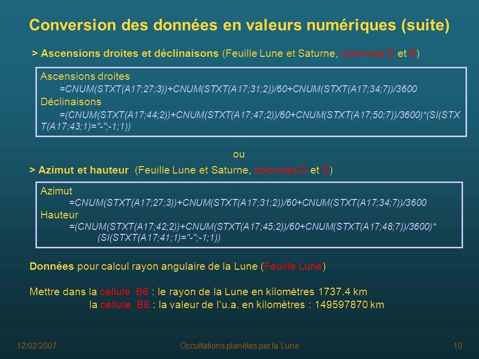 12/02/2007Occultations planètes par la Lune10 Conversion des données en valeurs numériques (suite) > Ascensions droites et déclinaisons (Feuille Lune
