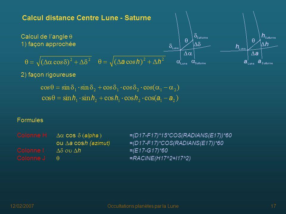 12/02/2007Occultations planètes par la Lune17 Formules Colonne H cos alpha =(D17-F17)*15*COS(RADIANS(E17))*60 ou a cosh ( azimut)=(D17-F17)*COS(RADIAN