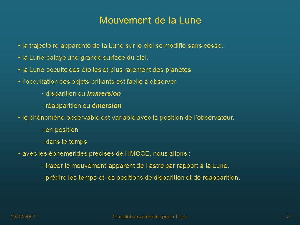 12/02/2007Occultations planètes par la Lune2 Mouvement de la Lune la trajectoire apparente de la Lune sur le ciel se modifie sans cesse. la Lune balay
