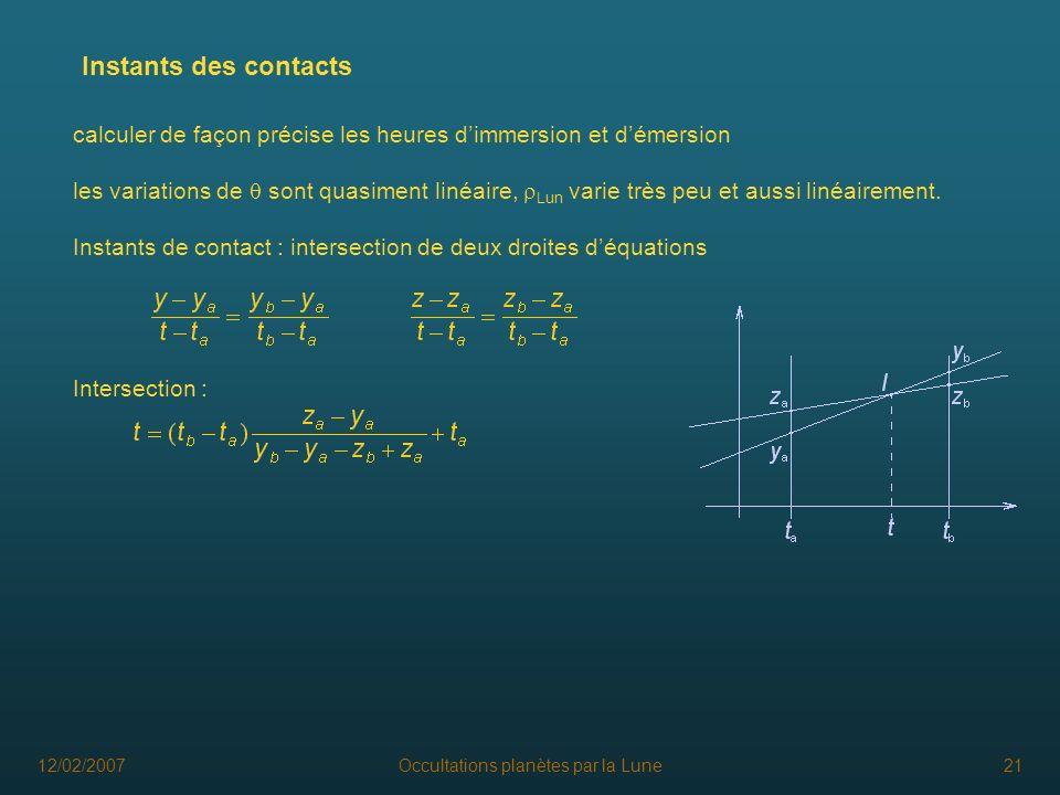 12/02/2007Occultations planètes par la Lune21 Instants des contacts calculer de façon précise les heures dimmersion et démersion les variations de son