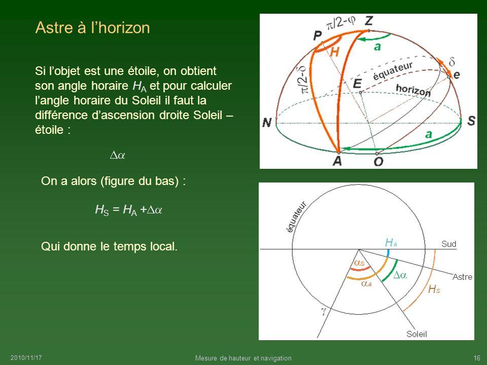 2010/11/17 Mesure de hauteur et navigation16 Astre à lhorizon Si lobjet est une étoile, on obtient son angle horaire H A et pour calculer langle horai