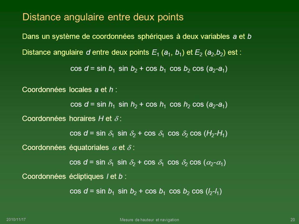 2010/11/17 Mesure de hauteur et navigation20 Distance angulaire entre deux points Dans un système de coordonnées sphériques à deux variables a et b Di