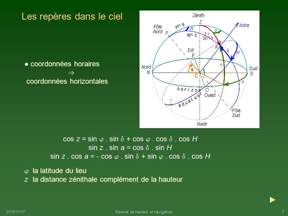 2010/11/17 Mesure de hauteur et navigation7 Les repères dans le ciel cos z = sin. sin + cos. cos. cos H sin z. sin a = cos. sin H sin z. cos a = - cos