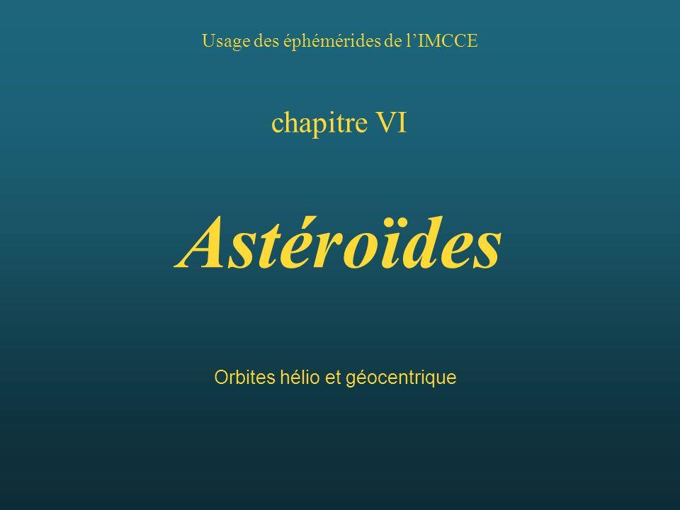 Usage des éphémérides de lIMCCE chapitre VI Astéroïdes Orbites hélio et géocentrique