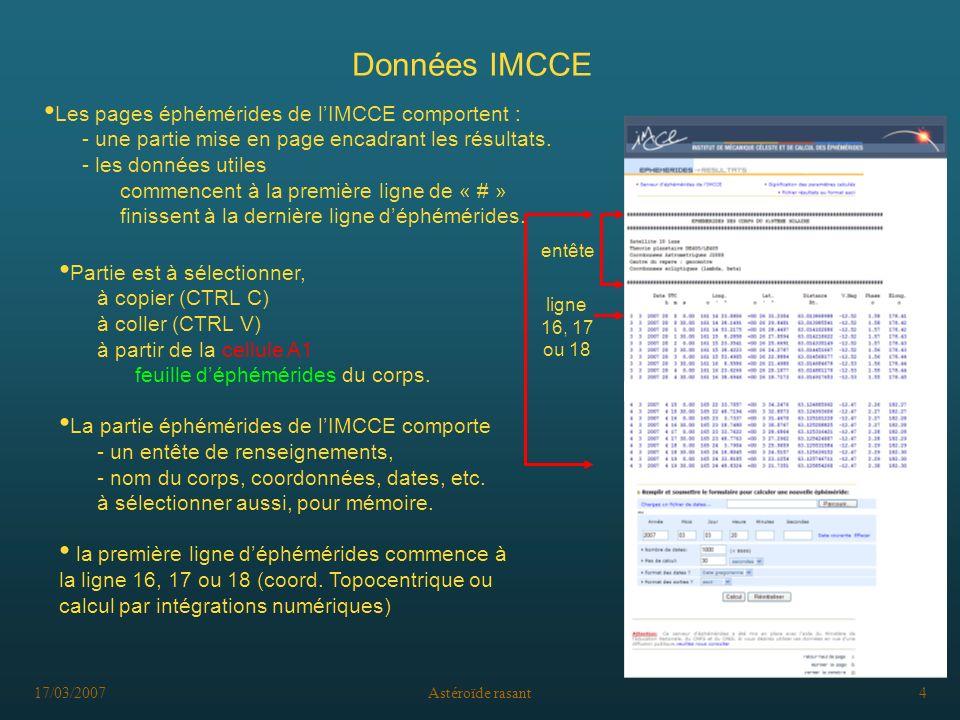 17/03/2007Astéroïde rasant4 Données IMCCE Les pages éphémérides de lIMCCE comportent : - une partie mise en page encadrant les résultats. - les donnée