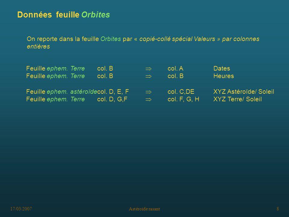 17/03/2007Astéroïde rasant8 On reporte dans la feuille Orbites par « copié-collé spécial Valeurs » par colonnes entières Feuille ephem. Terrecol. B co