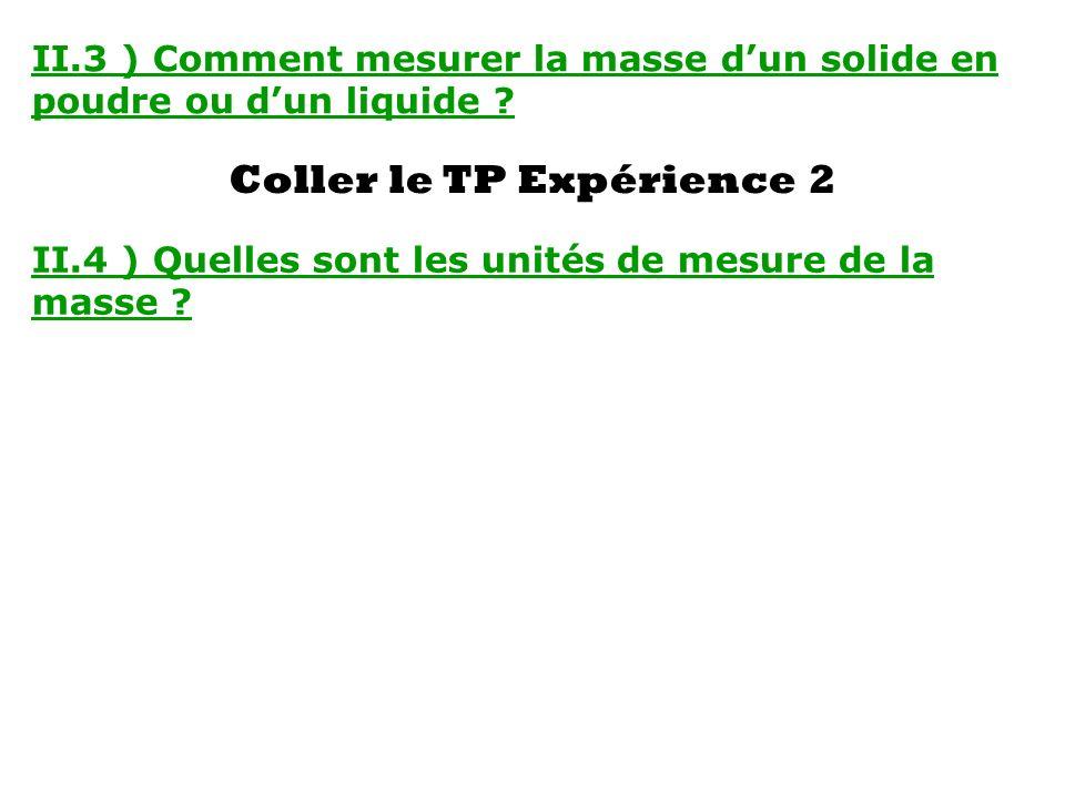 II.3 ) Comment mesurer la masse dun solide en poudre ou dun liquide ? Coller le TP Expérience 2 II.4 ) Quelles sont les unités de mesure de la masse ?