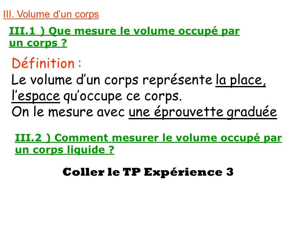 III. Volume dun corps III.1 ) Que mesure le volume occupé par un corps ? Définition : Le volume dun corps représente la place, lespace quoccupe ce cor