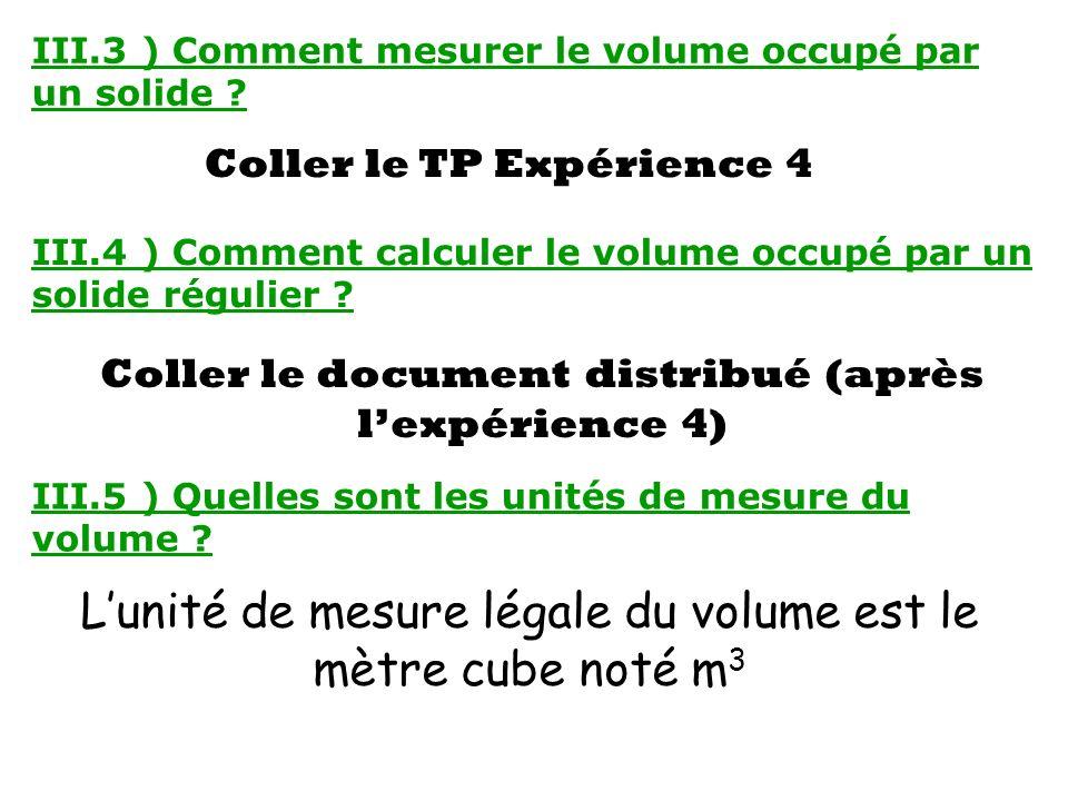 III.3 ) Comment mesurer le volume occupé par un solide ? Coller le TP Expérience 4 III.4 ) Comment calculer le volume occupé par un solide régulier ?