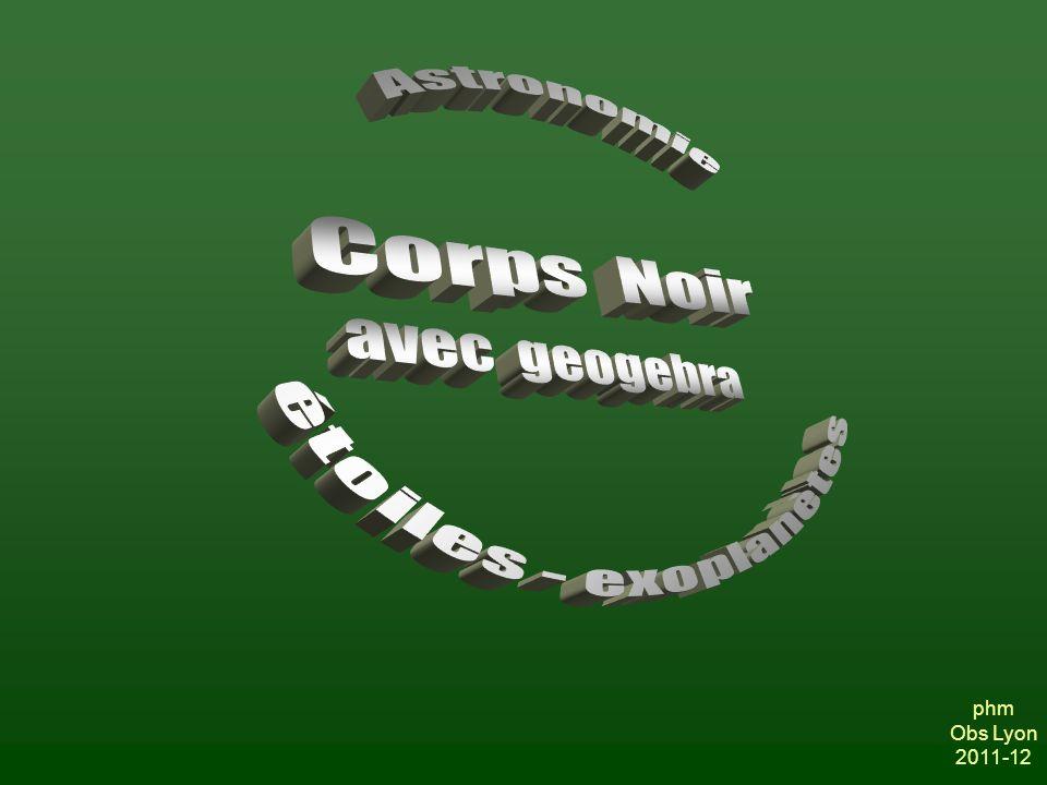 2011/09/22 Geogebra - le Corps noir2 Introduction La physique du rayonnement a fait un grand pas lorsque les trois lois dites « du rayonnement du corps noir » furent été établies.