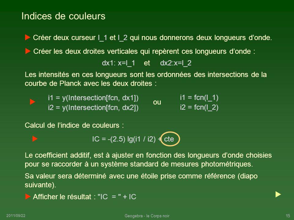 2011/09/22 Geogebra - le Corps noir15 Indices de couleurs Créer deux curseur l_1 et l_2 qui nous donnerons deux longueurs donde. Les intensités en ces