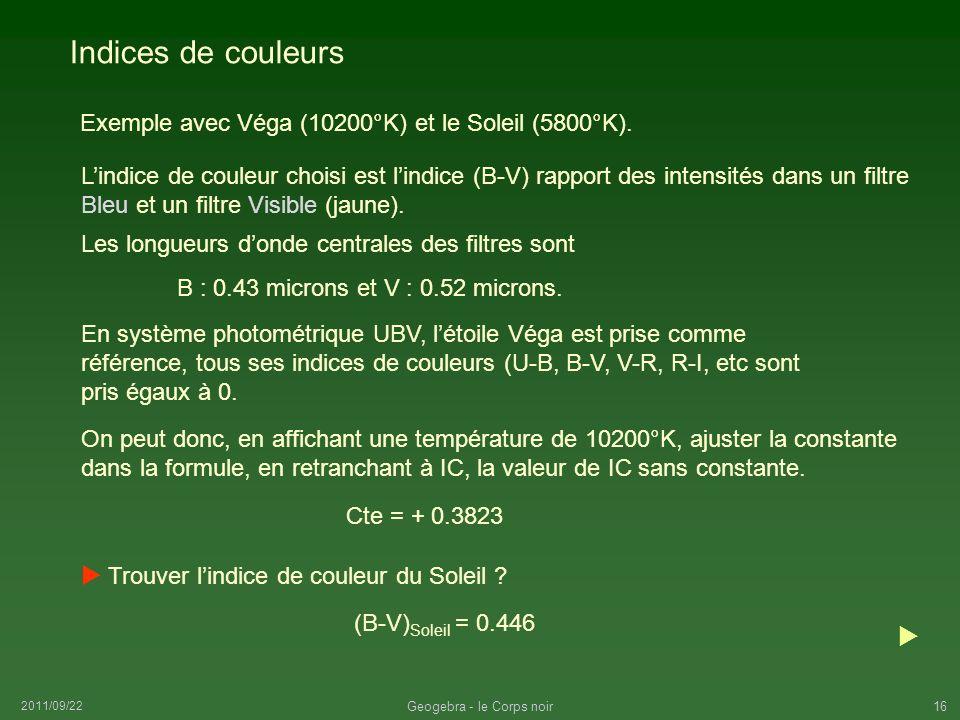 2011/09/22 Geogebra - le Corps noir16 Indices de couleurs Exemple avec Véga (10200°K) et le Soleil (5800°K). Les longueurs donde centrales des filtres