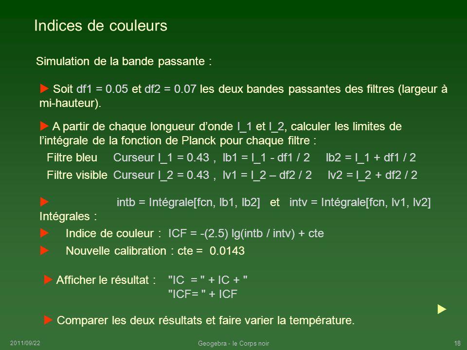 2011/09/22 Geogebra - le Corps noir18 Indices de couleurs Curseur l_1 = 0.43, lb1 = l_1 - df1 / 2 lb2 = l_1 + df1 / 2 Simulation de la bande passante