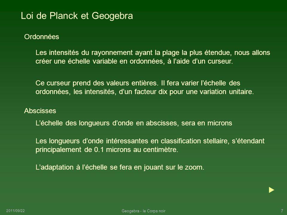 2011/09/22 Geogebra - le Corps noir7 Loi de Planck et Geogebra Les intensités du rayonnement ayant la plage la plus étendue, nous allons créer une éch