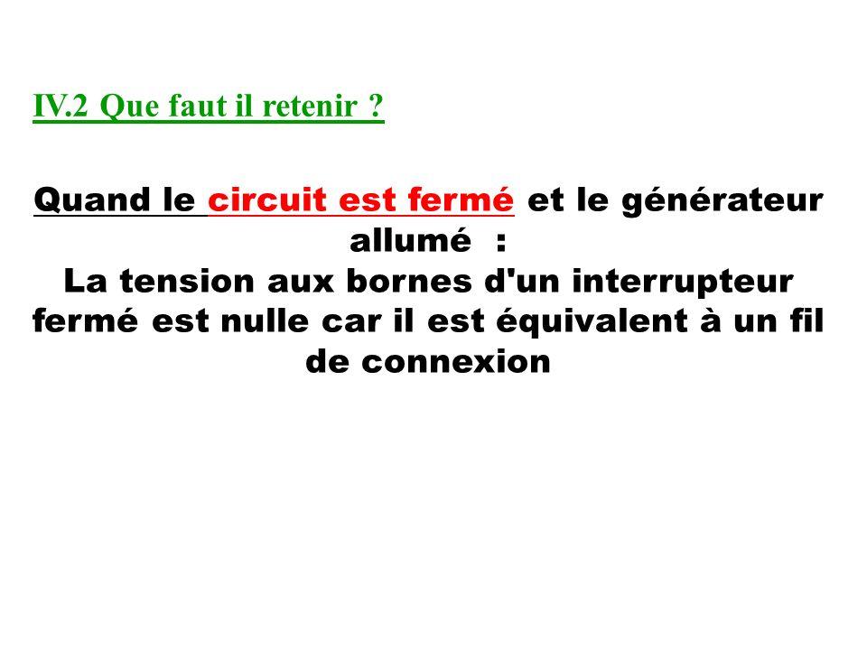 Quand le circuit est fermé et le générateur allumé : La tension aux bornes d'un interrupteur fermé est nulle car il est équivalent à un fil de connexi