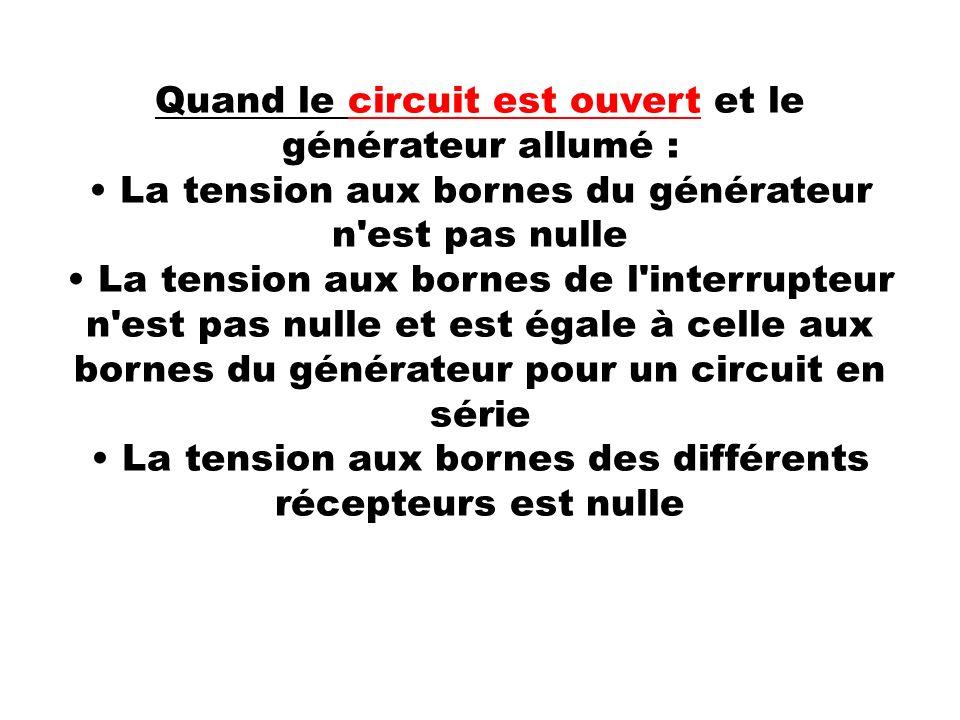Quand le circuit est ouvert et le générateur allumé : La tension aux bornes du générateur n'est pas nulle La tension aux bornes de l'interrupteur n'es