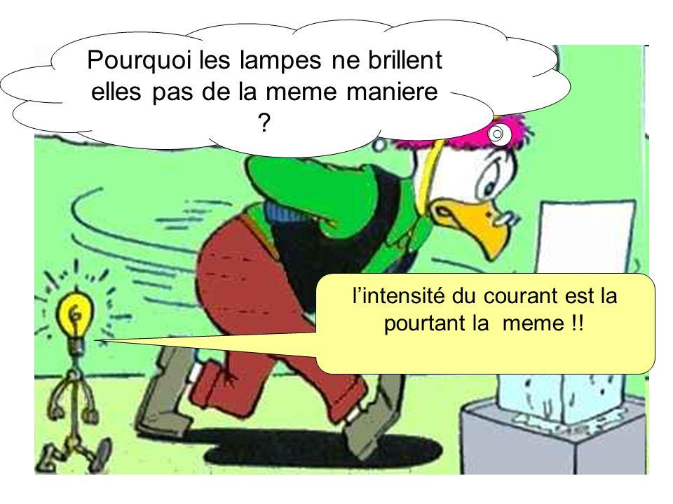 Pourquoi les lampes ne brillent elles pas de la meme maniere ? lintensité du courant est la pourtant la meme !!