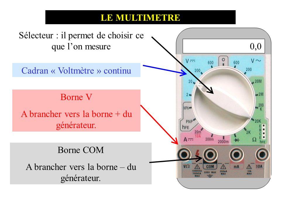 0,0 LE MULTIMETRE Cadran « Voltmètre » continu Borne V A brancher vers la borne + du générateur. Borne COM A brancher vers la borne – du générateur. S