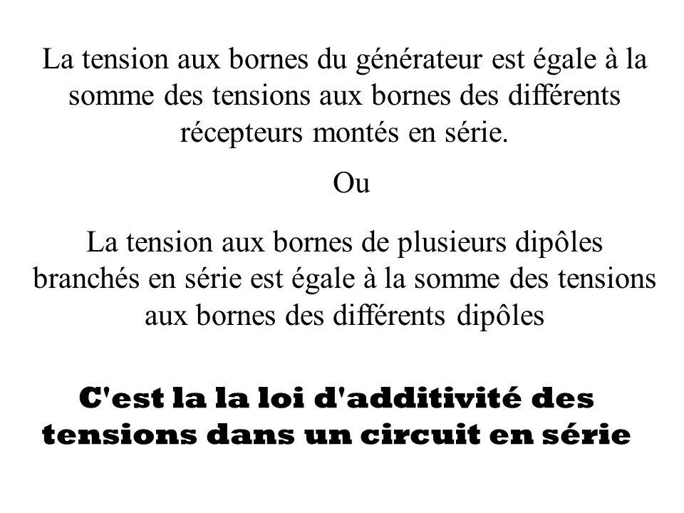 La tension aux bornes du générateur est égale à la somme des tensions aux bornes des différents récepteurs montés en série. La tension aux bornes de p