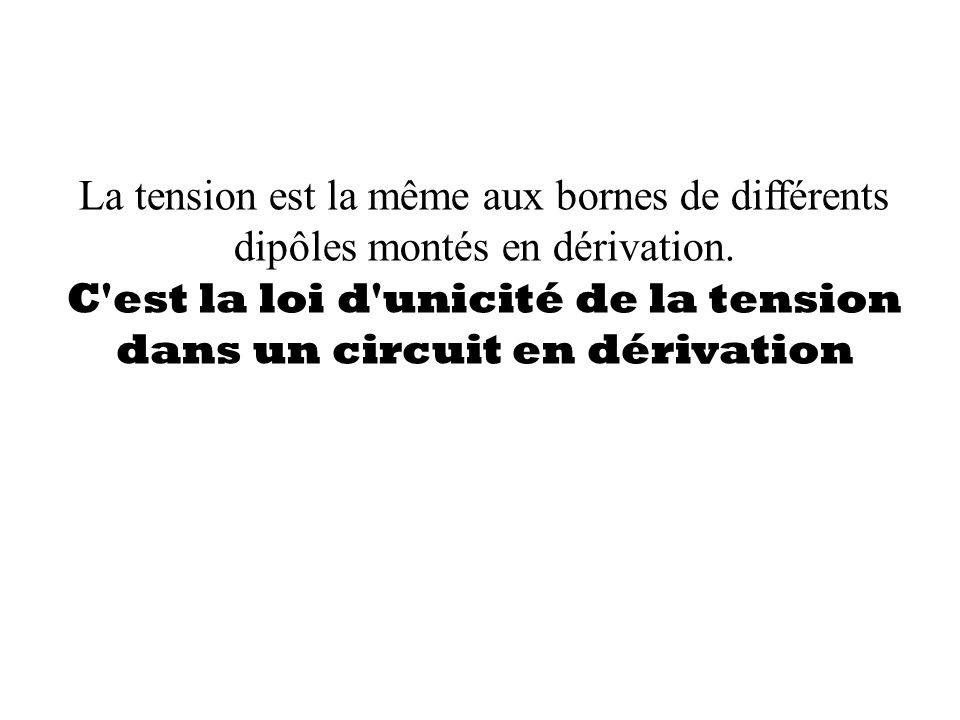 La tension est la même aux bornes de différents dipôles montés en dérivation. C'est la loi d'unicité de la tension dans un circuit en dérivation