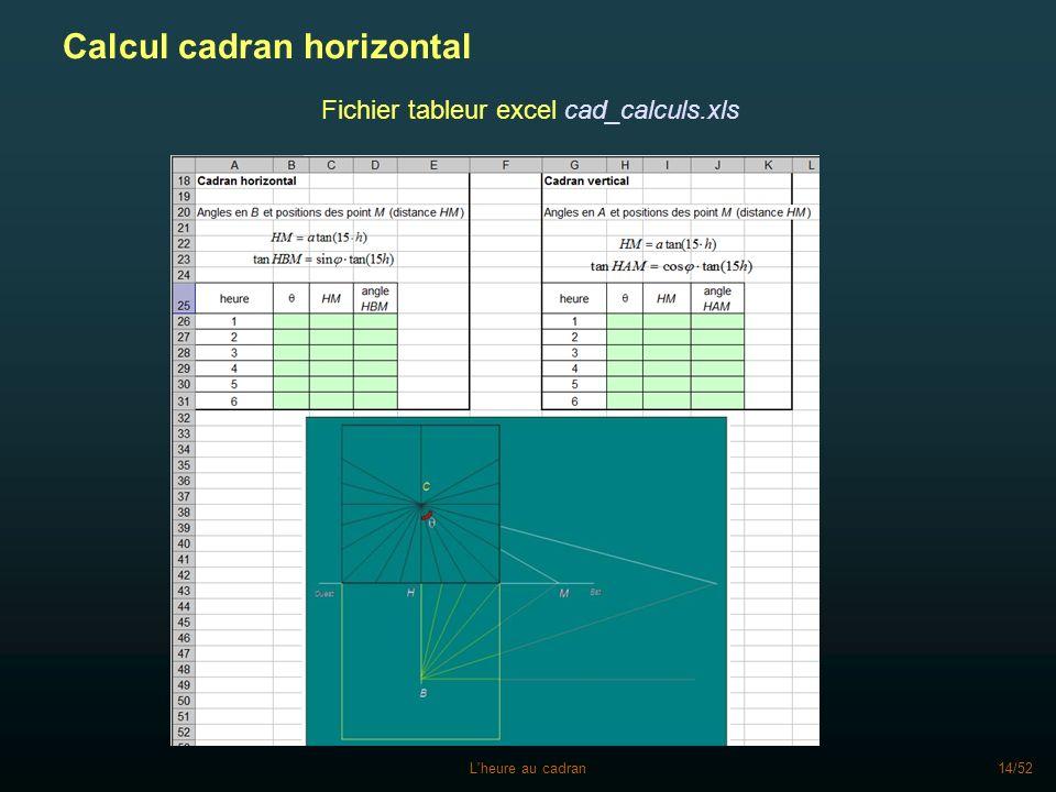 L'heure au cadran14/52 Calcul cadran horizontal Fichier tableur excel cad_calculs.xls
