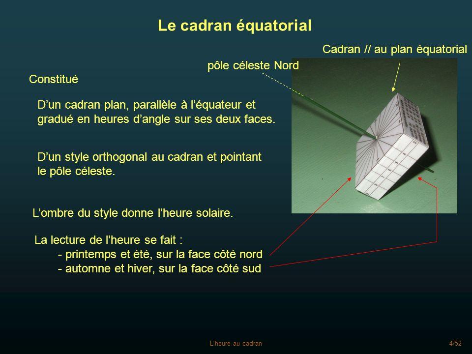 L'heure au cadran4/52 Le cadran équatorial Constitué Dun cadran plan, parallèle à léquateur et gradué en heures dangle sur ses deux faces. Dun style o