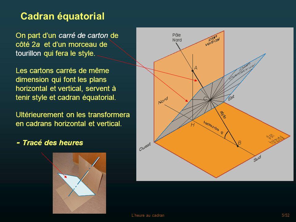 L heure au cadran6/52 Cadran équatorial - Tracé des heures Pour tracer les traits des heures, deux méthodes : règle et compas rapporteur