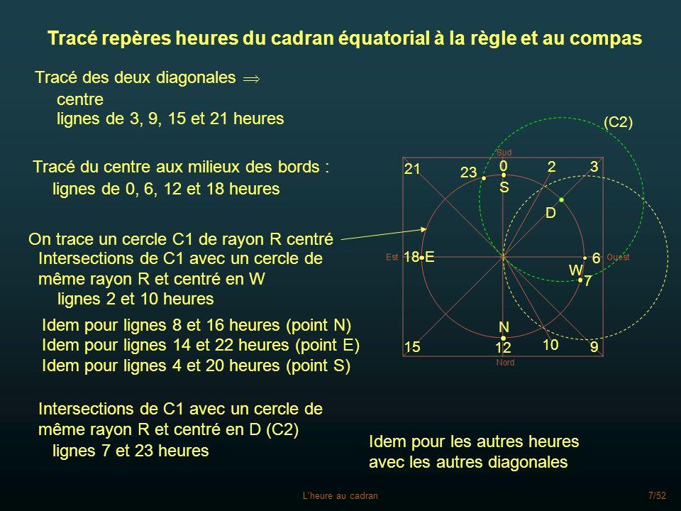 L'heure au cadran7/52 Tracé repères heures du cadran équatorial à la règle et au compas Tracé des deux diagonales Tracé du centre aux milieux des bord