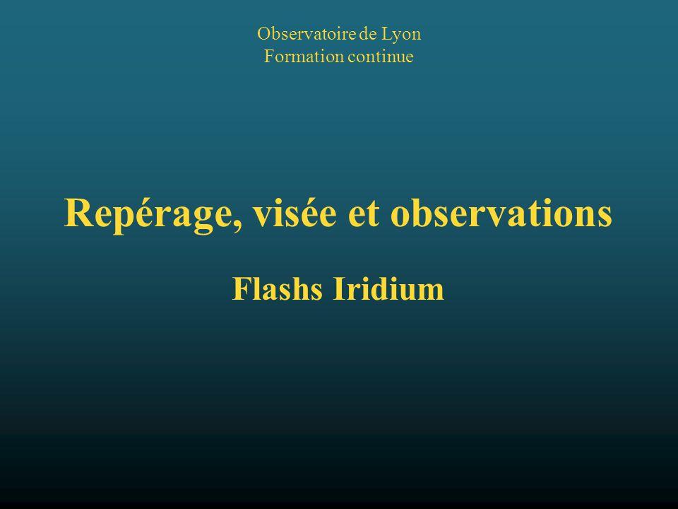 2005/05/23 Observatoire de Lyon2 Repérage et visée dans le ciel Lutilisation de lespace pour les télécommunications a placé dans le ciel de nombreux satellites dont les 66 de la série Iridium.