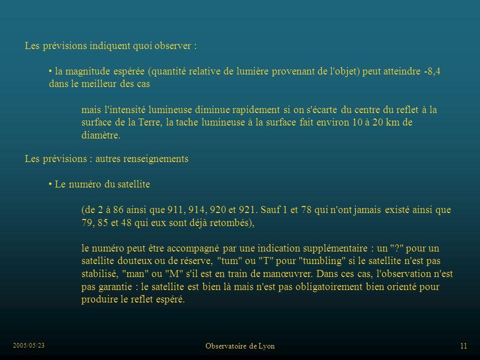 2005/05/23 Observatoire de Lyon11 Les prévisions indiquent quoi observer : la magnitude espérée (quantité relative de lumière provenant de l objet) peut atteindre -8,4 dans le meilleur des cas mais l intensité lumineuse diminue rapidement si on s écarte du centre du reflet à la surface de la Terre, la tache lumineuse à la surface fait environ 10 à 20 km de diamètre.