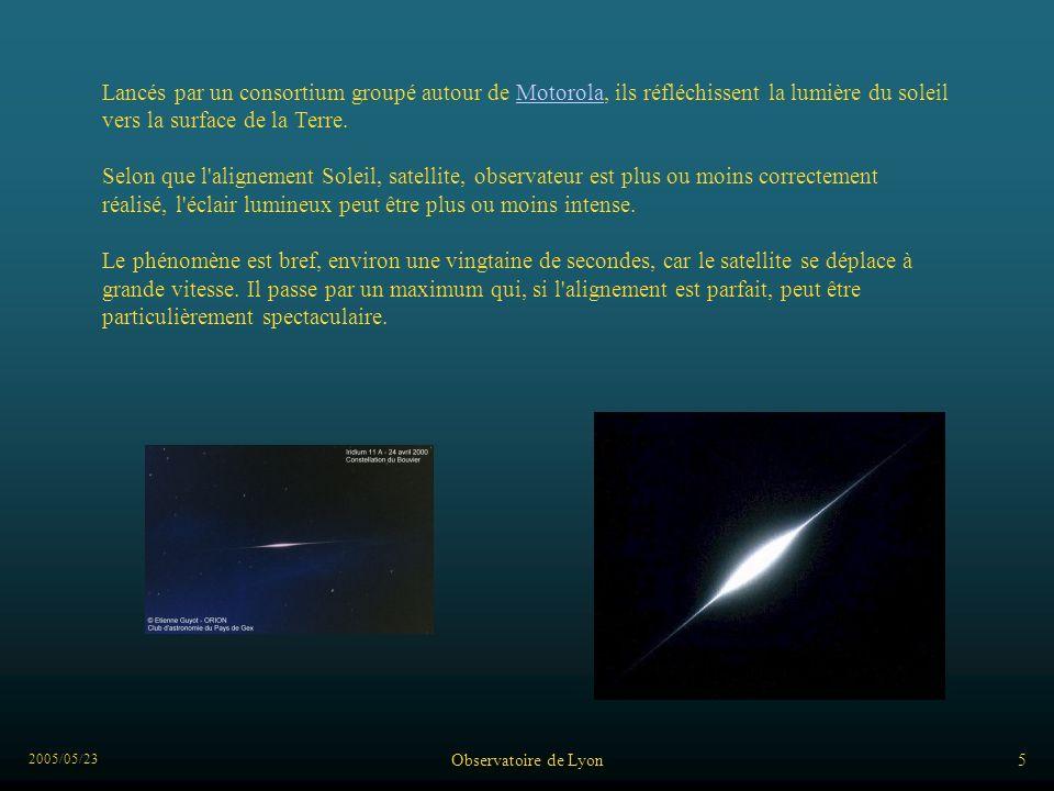 2005/05/23 Observatoire de Lyon5 Lancés par un consortium groupé autour de Motorola, ils réfléchissent la lumière du soleil vers la surface de la Terre.Motorola Selon que l alignement Soleil, satellite, observateur est plus ou moins correctement réalisé, l éclair lumineux peut être plus ou moins intense.