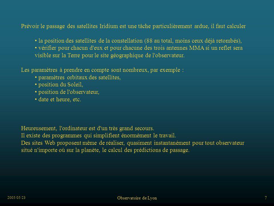 2005/05/23 Observatoire de Lyon8 http://www.heavens-above.com/ Les prédictions et données Lutilisation du site demande une inscription gratuite pour donner le ou les lieux dobservation
