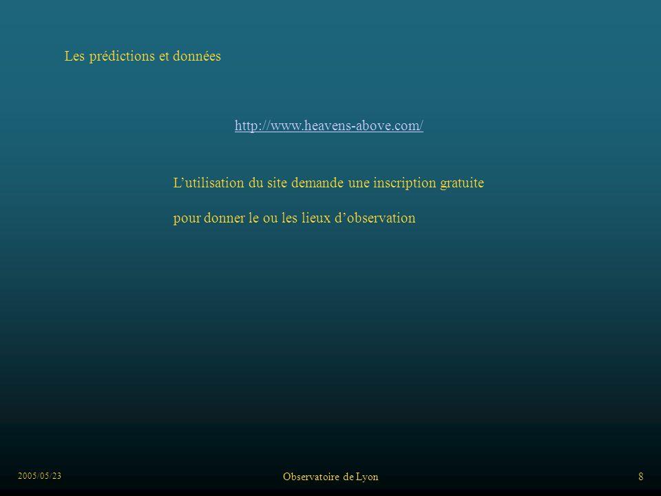 2005/05/23 Observatoire de Lyon9 Les prédictions se présentent de cette façon :
