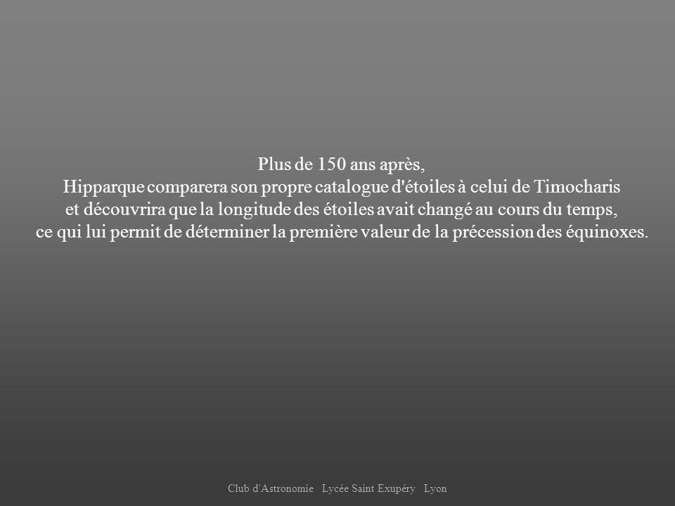 Club d'Astronomie Lycée Saint Exupéry Lyon Plus de 150 ans après, Hipparque comparera son propre catalogue d'étoiles à celui de Timocharis et découvri