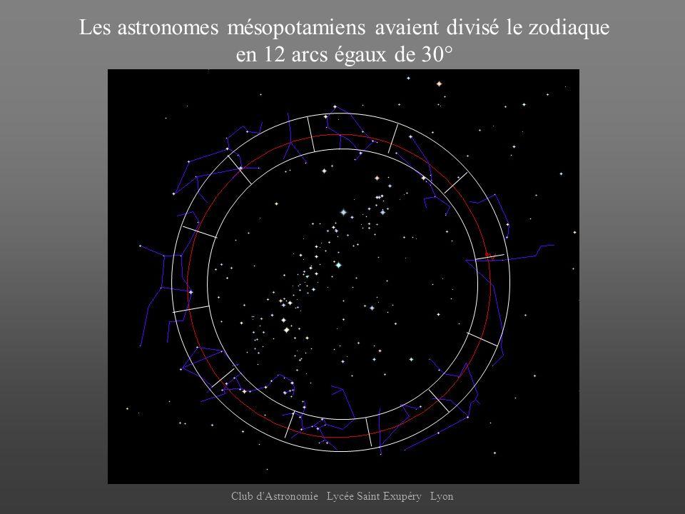 Club d'Astronomie Lycée Saint Exupéry Lyon Les astronomes mésopotamiens avaient divisé le zodiaque en 12 arcs égaux de 30°