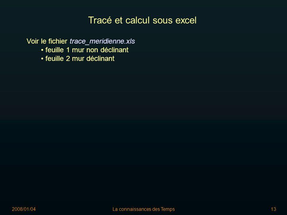 2008/01/04La connaissances des Temps13 Tracé et calcul sous excel Voir le fichier trace_meridienne.xls feuille 1 mur non déclinant feuille 2 mur déclinant
