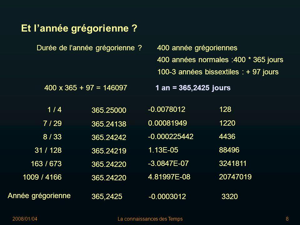 2008/01/04La connaissances des Temps9 Et lannée grégorienne .