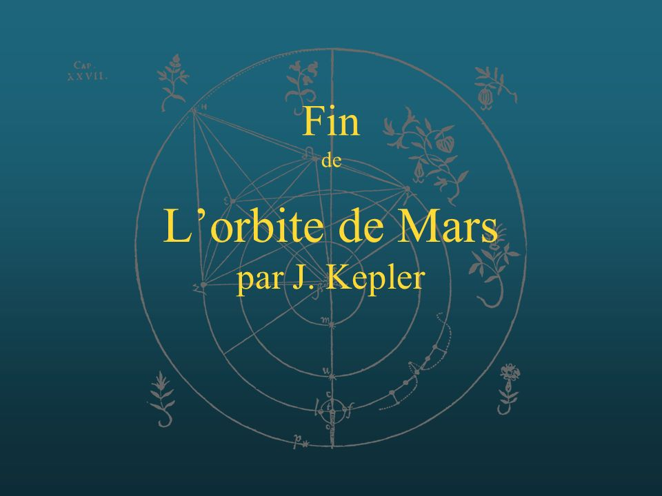 Lorbite de Mars par J. Kepler Fin de