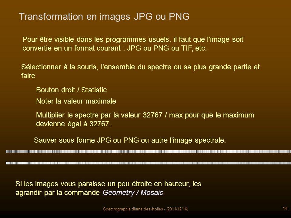 Spectrographie diurne des étoiles - (2011/12/16) 14 Pour être visible dans les programmes usuels, il faut que limage soit convertie en un format courant : JPG ou PNG ou TIF, etc.