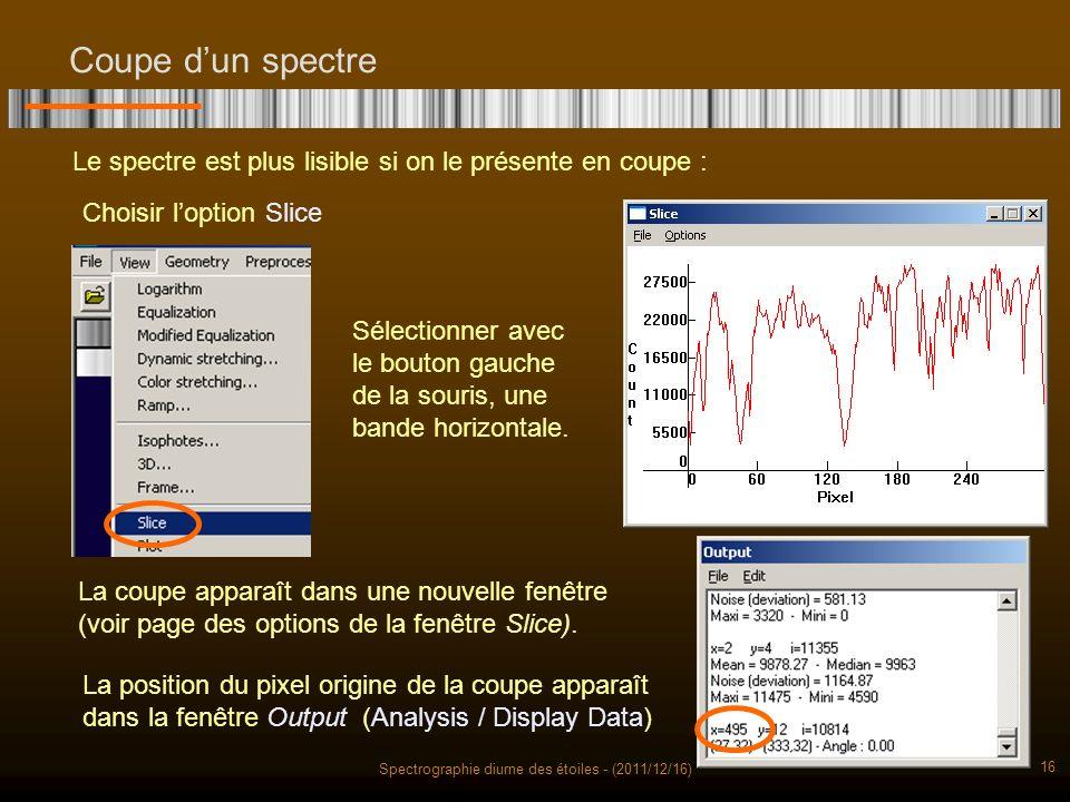 Spectrographie diurne des étoiles - (2011/12/16) 16 Coupe dun spectre Le spectre est plus lisible si on le présente en coupe : Choisir loption Slice Sélectionner avec le bouton gauche de la souris, une bande horizontale.