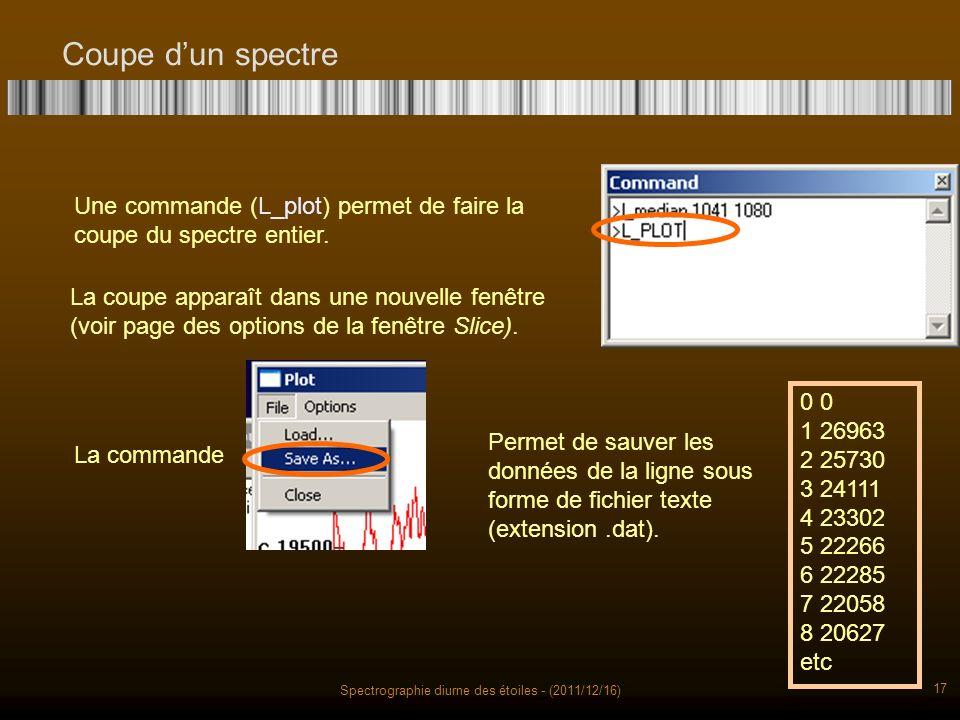 Spectrographie diurne des étoiles - (2011/12/16) 17 Coupe dun spectre Une commande (L_plot) permet de faire la coupe du spectre entier.