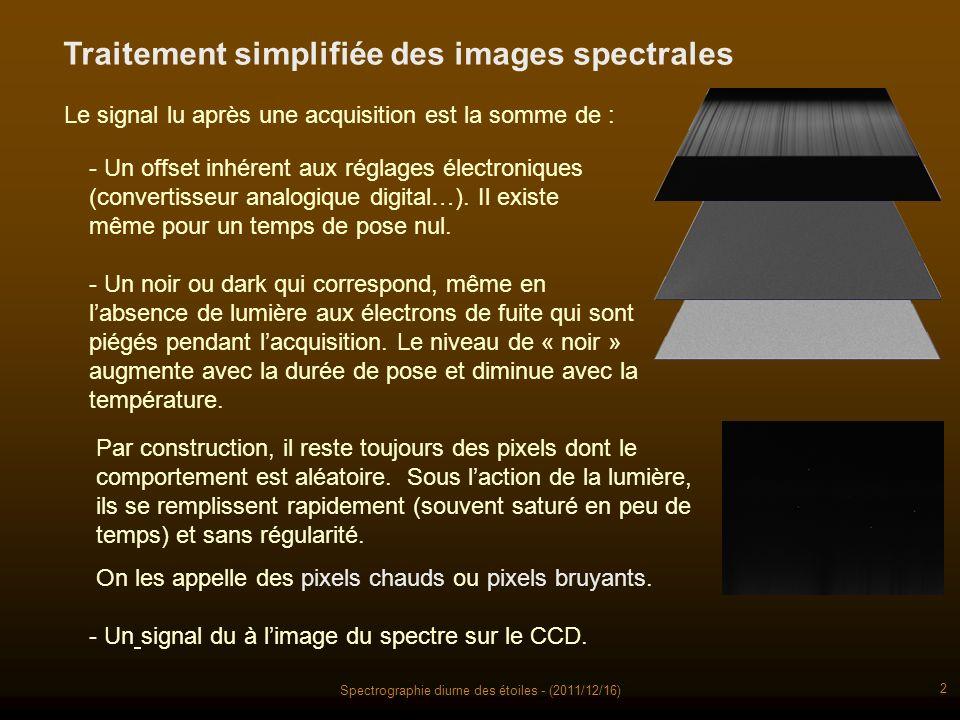 Spectrographie diurne des étoiles - (2011/12/16) 2 Traitement simplifiée des images spectrales Le signal lu après une acquisition est la somme de : - Un offset inhérent aux réglages électroniques (convertisseur analogique digital…).