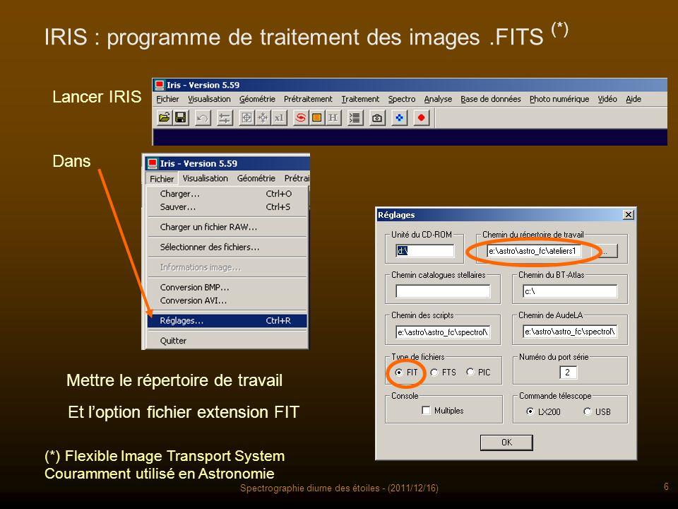Spectrographie diurne des étoiles - (2011/12/16) 6 IRIS : programme de traitement des images.FITS Dans Lancer IRIS Mettre le répertoire de travail Et loption fichier extension FIT (*) Flexible Image Transport System Couramment utilisé en Astronomie (*)