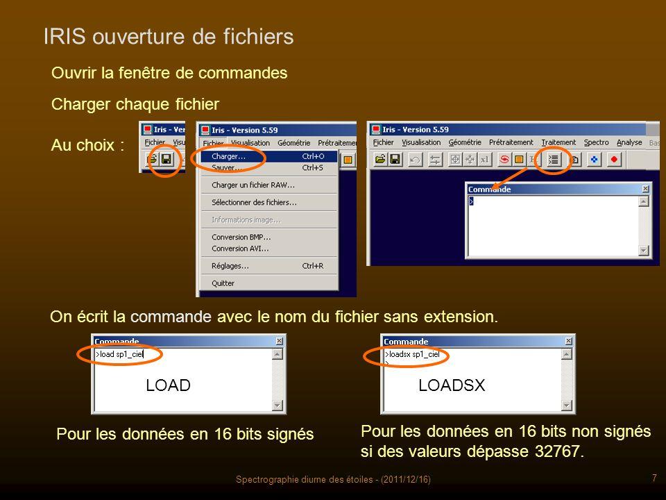Spectrographie diurne des étoiles - (2011/12/16) 7 IRIS ouverture de fichiers Charger chaque fichier Ouvrir la fenêtre de commandes Au choix : On écrit la commande avec le nom du fichier sans extension.